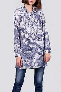 Anany bielo-modré košeľové šaty Valencia Azulon