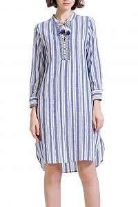 Anany modré košeľové šaty Merida s prúžkami
