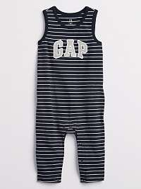 Baby overal GAP Logo stripe one-piece Modrá