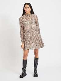 Béžové vzorované šaty so stojačikom .OBJECT