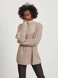 Béžový sveter s prímesou vlny z alpaky .OBJECT