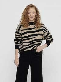 Béžový sveter so zebrím vzorom Jacqueline de Yong Lian