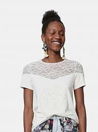 Biele tričko s potlačou a čipkou Desigual Cannes
