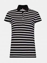 Bielo-čierne dámske pruhované polo tričko Tommy Hilfiger
