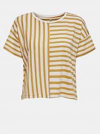 Bielo-žlté pruhované voľné tričko ONLY Marie