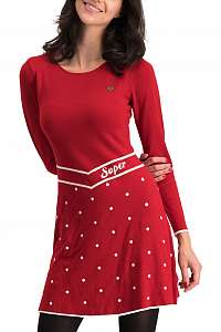 Blutsgeschwister červené zimné šaty Punktemädel Dress Super Red Dot