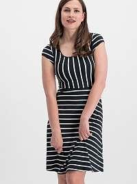 Blutsgeschwister čierne šaty Logo Stripe