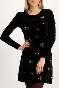 Blutsgeschwister čierne zamatové šaty Twirling Zarewitschka Dress Goldy Beetles s výšivkami