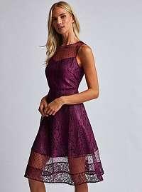 Bordové čipkované šaty Dorothy Perkins