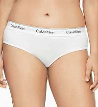 Calvin Klein biele nohavičky Boyshort Modern Cotton Plus Size so širokou gumou