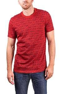 Calvin Klein červené pánske tričko S/S Crew Neck s nápismi