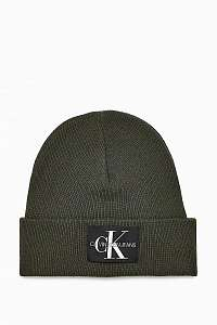 Calvin Klein khaki unisex čiapka J Basic Knitted Beanie Grape Leaf