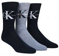 Calvin Klein modrý 3 pack pánskych ponožiek 3pk Retro Logo Gift Box