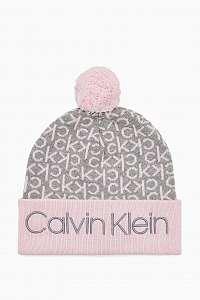 Calvin Klein púdrová čiapka Industrial Mono Knitted Beanie W Ta Clear Pink s brmbolcom