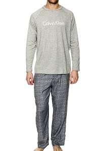 Calvin Klein sivé pánske pyžamo Flanel L/S Pant Set - XL