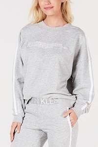 Calvin Klein sivá mikina L/S Sweatshirt s prúžkom