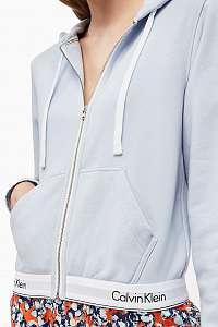 Calvin Klein svetlo modrá dámska mikina Full Zip Hoodie