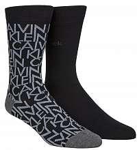 Calvin Klein unisex ponožky 2PK All Over Logo Crew --46
