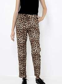 CAMAIEU béžové nohavice s leopardím vzorom