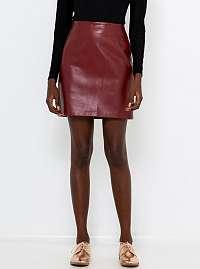 CAMAIEU bordová koženková sukňa