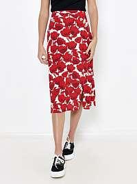 CAMAIEU červená kvetovaná midi sukňa