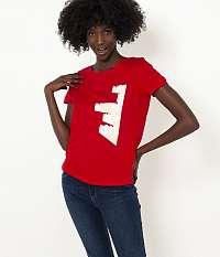 CAMAIEU červené dámske tričko s potlačou