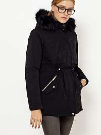 CAMAIEU čierna zimná bunda s umelým kožúškom s kapucňou
