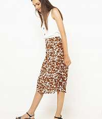 CAMAIEU hnedá kvetovaná sukňa