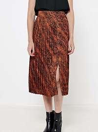 CAMAIEU hnedá vzorovaná midi sukňa