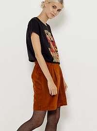 CAMAIEU hnedá zamatová sukňa