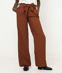 CAMAIEU hnedé široké vzorované nohavice
