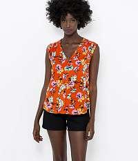 CAMAIEU oranžová blúzka s kvetinovým motívom