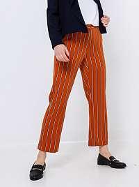 CAMAIEU oranžové skrátené pruhované nohavice