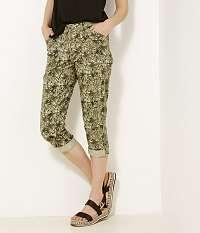 CAMAIEU zelené trojštvrťové vzorované nohavice
