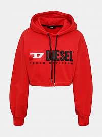 Červená dámska krátka mikina s kapucou Diesel
