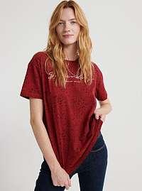 Červené dámske tričko s potlačou Superdry