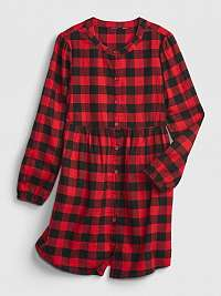 Červené dievčenskú šaty šaty buff plaid shirt GAP