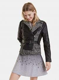Čierna koženková bunda s prímesou vlny Desigual