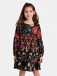 Čierne dievčenské kvetované šaty Desigual Alejandrita