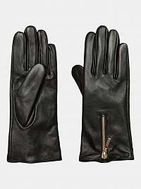 Čierne kožené rukavice VERO MODA Kassandra