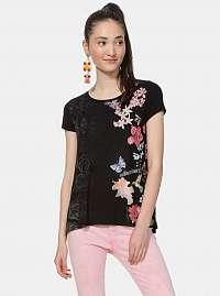 Čierne kvetované tričko Desigual Panama