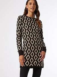 Čierne vzorované svetrové šaty Dorothy Perkins