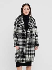 Čierno-šedý kockovaný zimný kabát ONLY