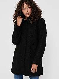 Čierny zimný kabát s kapucňou Jacqueline de Yong