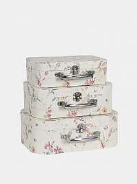 Clayre & Eef sada troch bielych kvetovaných kufríkov