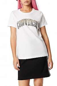 Converse biele tričko s leopardím motívom