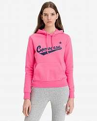 Converse ružová mikina Center Front Nova s kapucňou