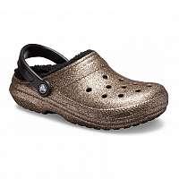 Crocs bronzové topánky Classic Glitter Lined Clog Gold/Black -