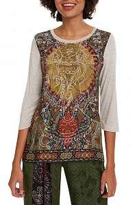 Desigual béžové tričko TS Rahjan s farebnými motívmi - M