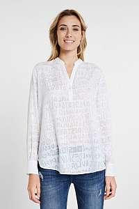 Desigual biele košeľa Blus Lettering